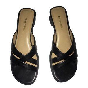 Naturalizer Leather Heels Open Toe Back Black 9